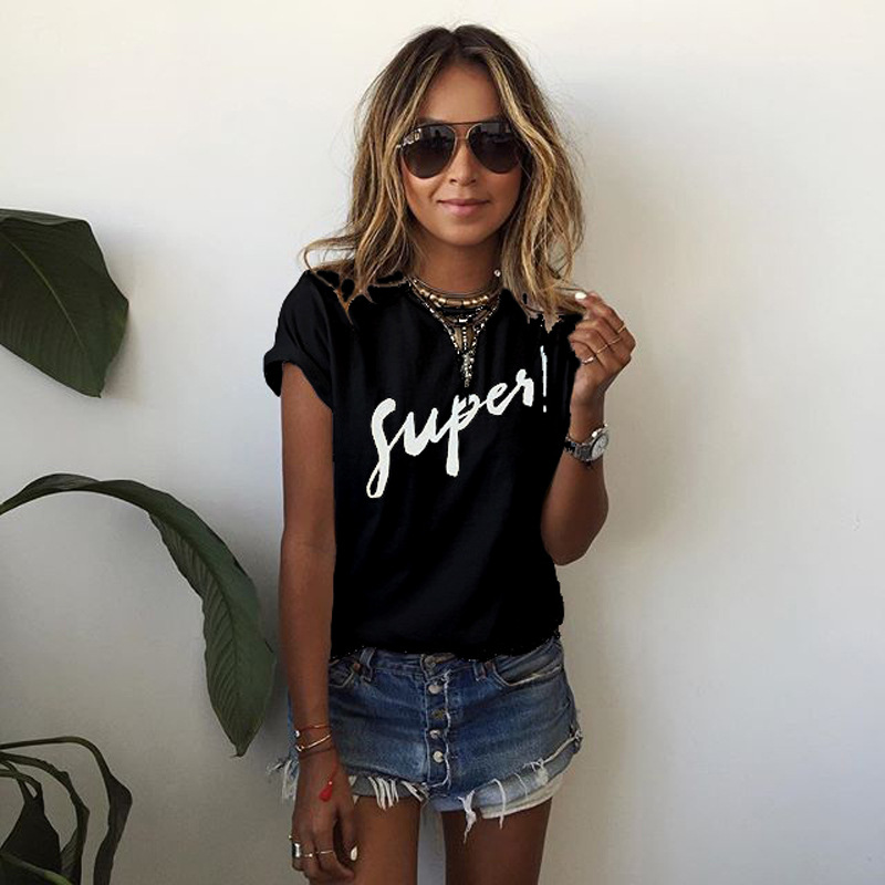 Women Summer Party T Shirt Supes Letter-printed T-shirt with Short Sleeves In 2019 Casual T-shirts Solid Tee