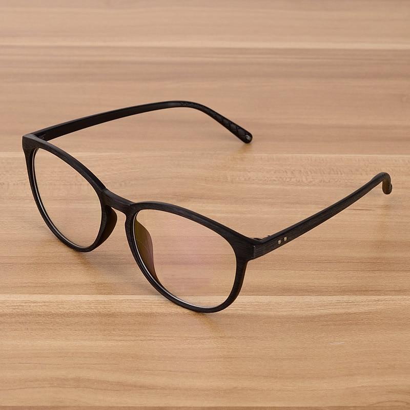 Černé retro brýle optické brýle s čirým sklem čočky dřevěné imitace kulaté vintage brýle brýlové rámy ženy muži