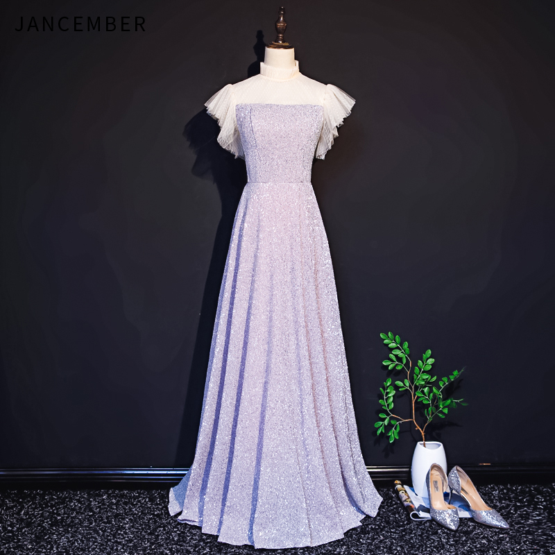2019 Latest Light Luxury JANCEMBER   Bridesmaid     Dresses   Illusion High Neck Ruched Cap Sleeve Zipper Back Sequins vestito damigella