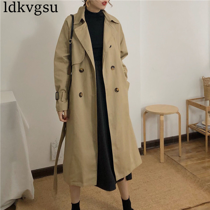 2019 NEW Windbreaker Female Korean Spring Autumn Loose Double-breasted Side Slit Long   Trench   Coats Woman V287