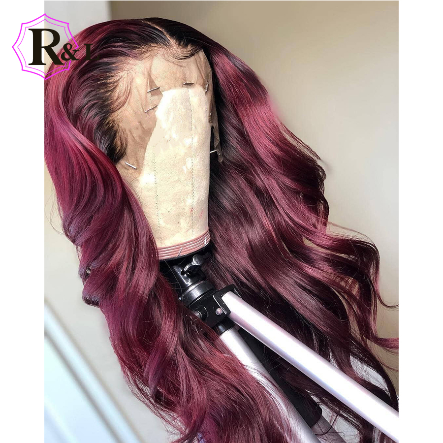 RULINDA 1B Burgundy Ombre Color Lace Front Human Hair Wig With Baby Hair 13 4 Body