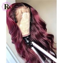 Rulinda 1b/borgonha ombre cor frente do laço peruca de cabelo humano com cabelo do bebê 13*4 onda do corpo brasileiro remy peruca do laço de cabelo 130% densidade