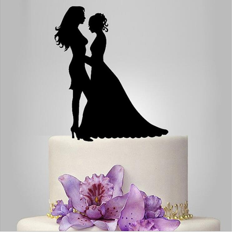 Bride And Bride Silhouette Cake Topper, Same Sex Wedding Cake Toppers,  Modern Lesbians Glitter