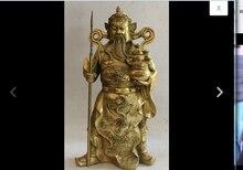 free shipping wan671067+++24″ Big Chinese Brass Sword Guan Gong Yu Warrior God Dragon treasure bowl Statue