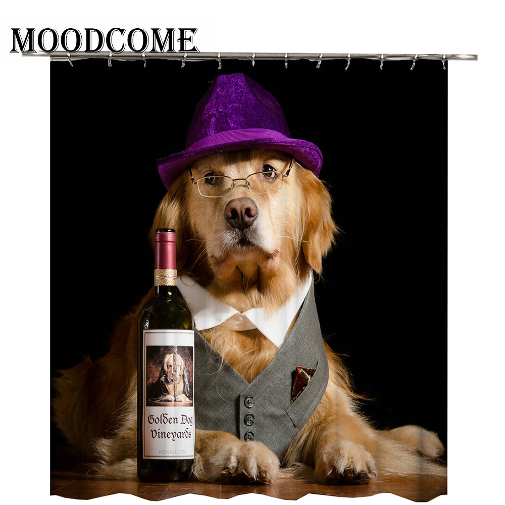 Dog Drink Red Wine Shower Curtain Waterproof Bath Polyester Drop Shipping Bathroom In Curtains From Home Garden On