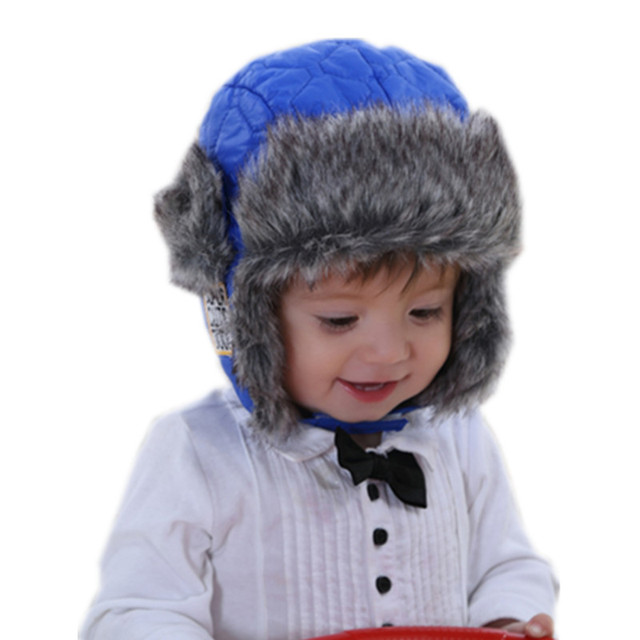baby   kids boys winter faux fur fleece warm bomber hats caps children  fashion boy earflap blue hat snow caps christmas gifts 491e11cbd13