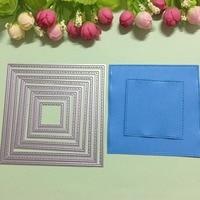 8ชิ้นสแควร์ลูกไม้ออกแบบโลหะตกแต่งกระดาษตายตัดแม่แบบลายนูนS Tencilsสำหรับการ์ดแต่งงานของขวัญอ...