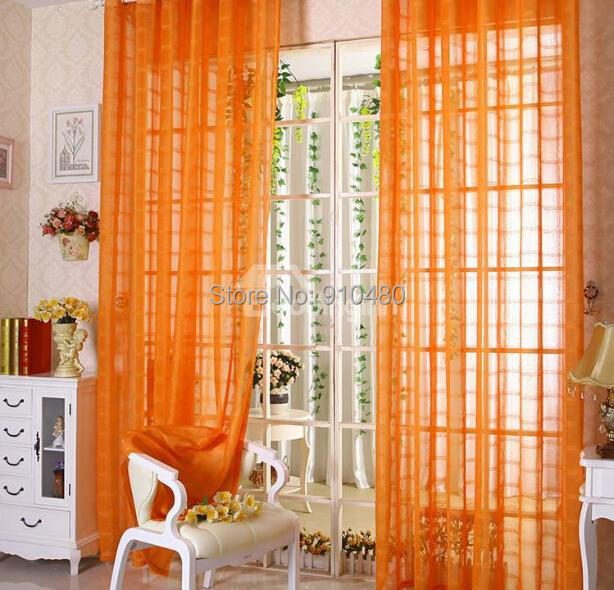 Sheer Voile Curtain Tab Top Panel Slot Voiles Plain Orange W55
