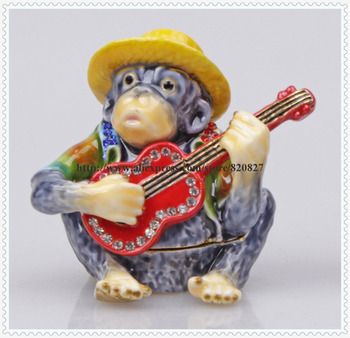 цена на Monkey Bejeweled Collectible Trinket Jewelry Box Pewter  Keepsake Jewelry Pill Box Monkey Jewelry Box