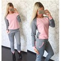 NEW Winter Style 2 Piece Set Women Tracksuits Ensemble  Femme Survetement O-Neck Patchwork Color Women Set