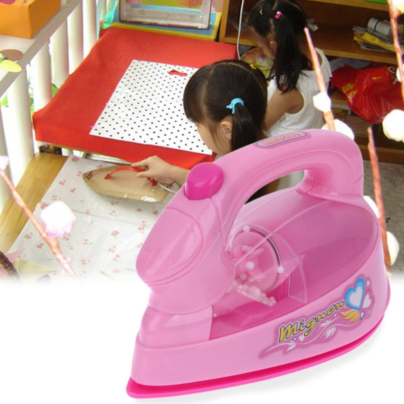 1Pc Mini Electric Iron Light-up Simulation Appliances Children Baby Girl Play Home Appliances Toy