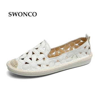SWONCO Women's Flats Shoe Embroidery Fisherman Female Shoe 2018 Spring Summer Women Shoes Cut Out Hollow Out Casual Shoes