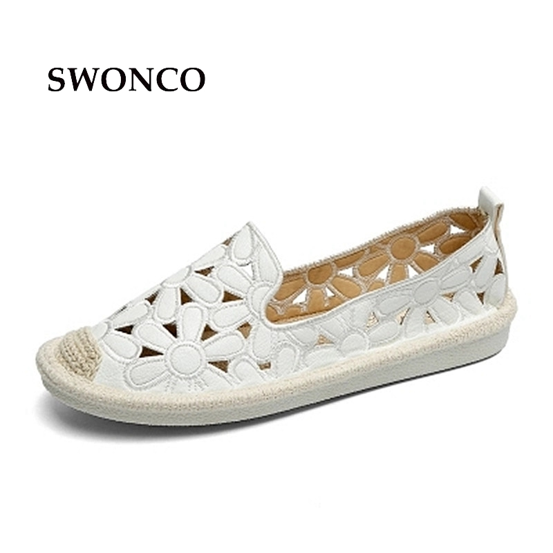 SWONCO Women's Flats Shoe Embroidery Fisherman Female Shoe 2018 Spring Summer Women Shoes Cut Out Hollow Out Casual Shoes 2018 new women shoes ballet flats fashion cut outs flat women shoes sweet hollow out summer female breathable casual shoes