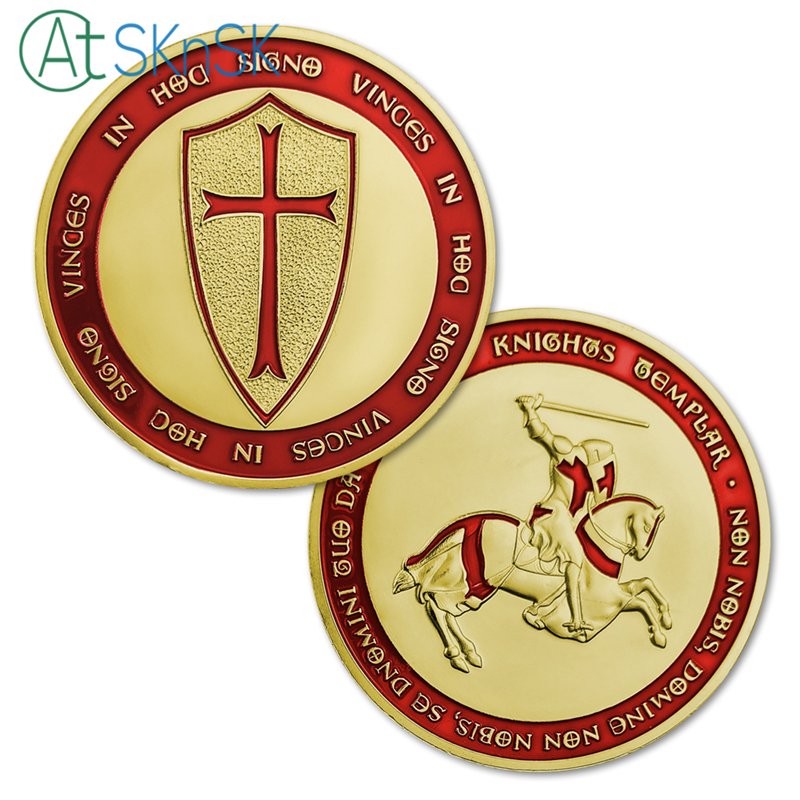 US $26 6 5% OFF|Mix14pcs/lot wholesale metal craft Europe knights templar  cross set of 14 silver/gold plated coins Free Shipping-in Non-currency  Coins
