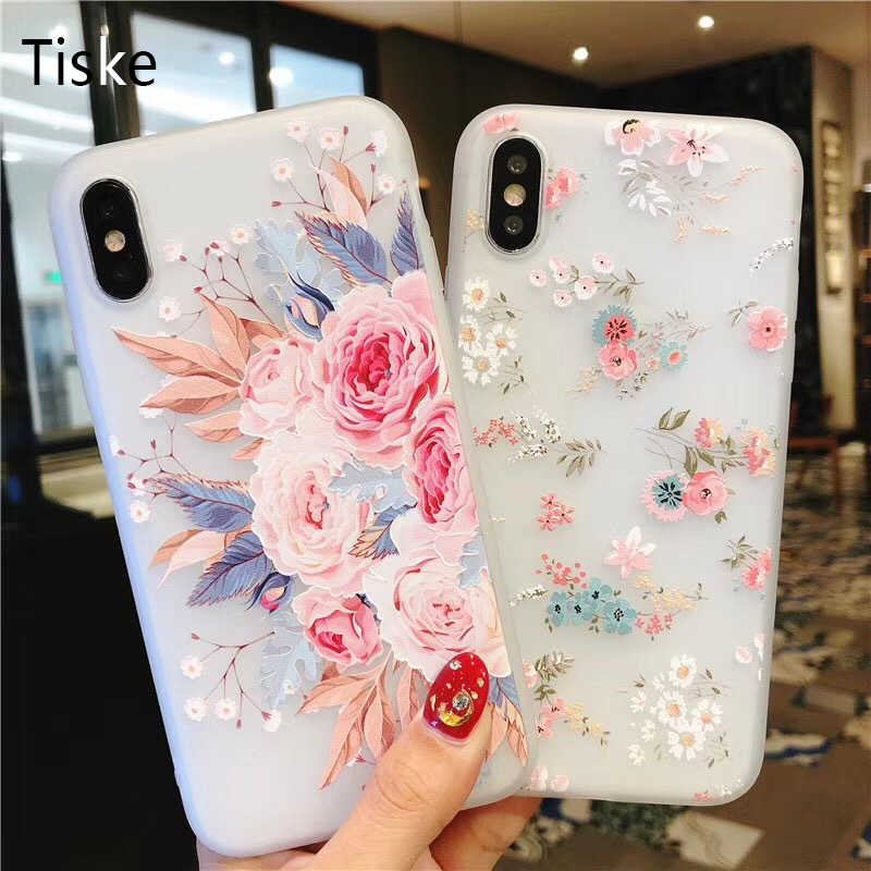 Flower Silicon Phone Case For iPhone Xs Max 6.5 Rose Floral Leaves Cases For iPhone Xr 5S SE X 8 7 6 6S Plus New Soft TPU Cover