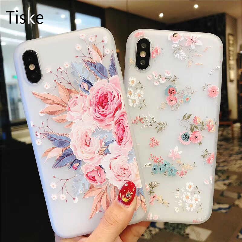 ซิลิโคนดอกไม้โทรศัพท์สำหรับ iPhone Xs Max 6.5 Rose ดอกไม้ใบสำหรับ iPhone Xr 5 S SE X 8 7 6 6 S Plus New Soft TPU Cover