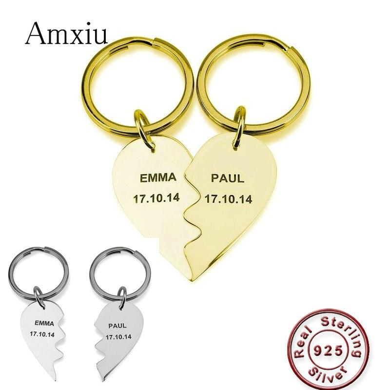 Amxiu personnalisé 2 pièces 925 argent coeur porte-clés graver nom pendentif porte-clés amoureux femmes jour cadeaux personnalisé bijoux