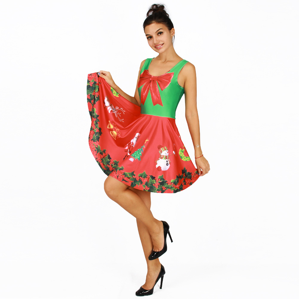 new women christmas dress festive red big bow santa claus printed female party dresses sleeveless tank pleated dress vestidos in dresses from womens - Red Dress For Christmas