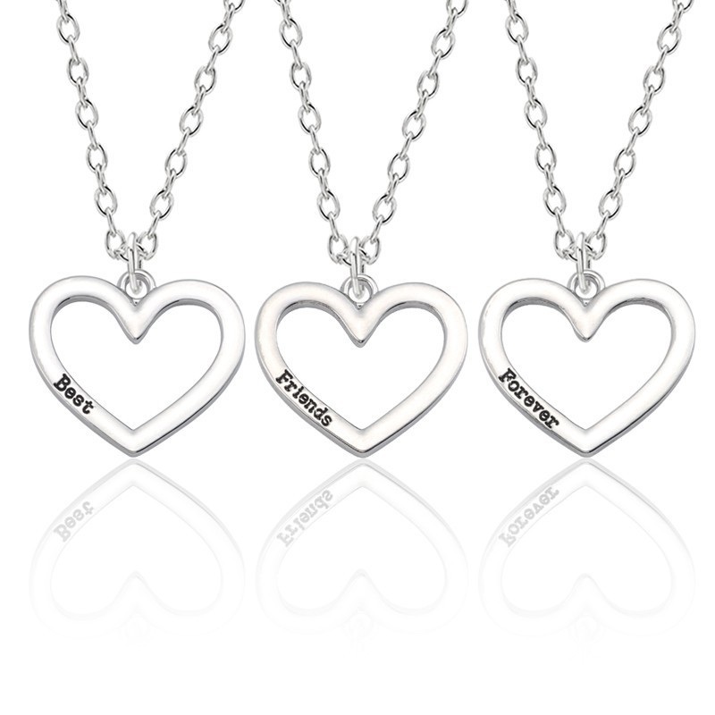 3Pcs Best Friends Forever Necklace Women 3 Silver Hollow Heart Necklaces  Pendant BFF Friendship Jewelry For 67061488cccf