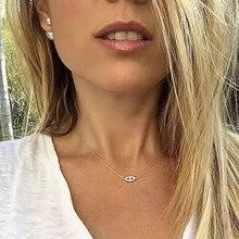 Настоящее Стерлинговое Серебро 925 пробы, очаровательные женские ожерелья, проложенные полностью блестящими фианитами с маленькой подвеской от сглаза для милых девушек, хорошее ювелирное изделие