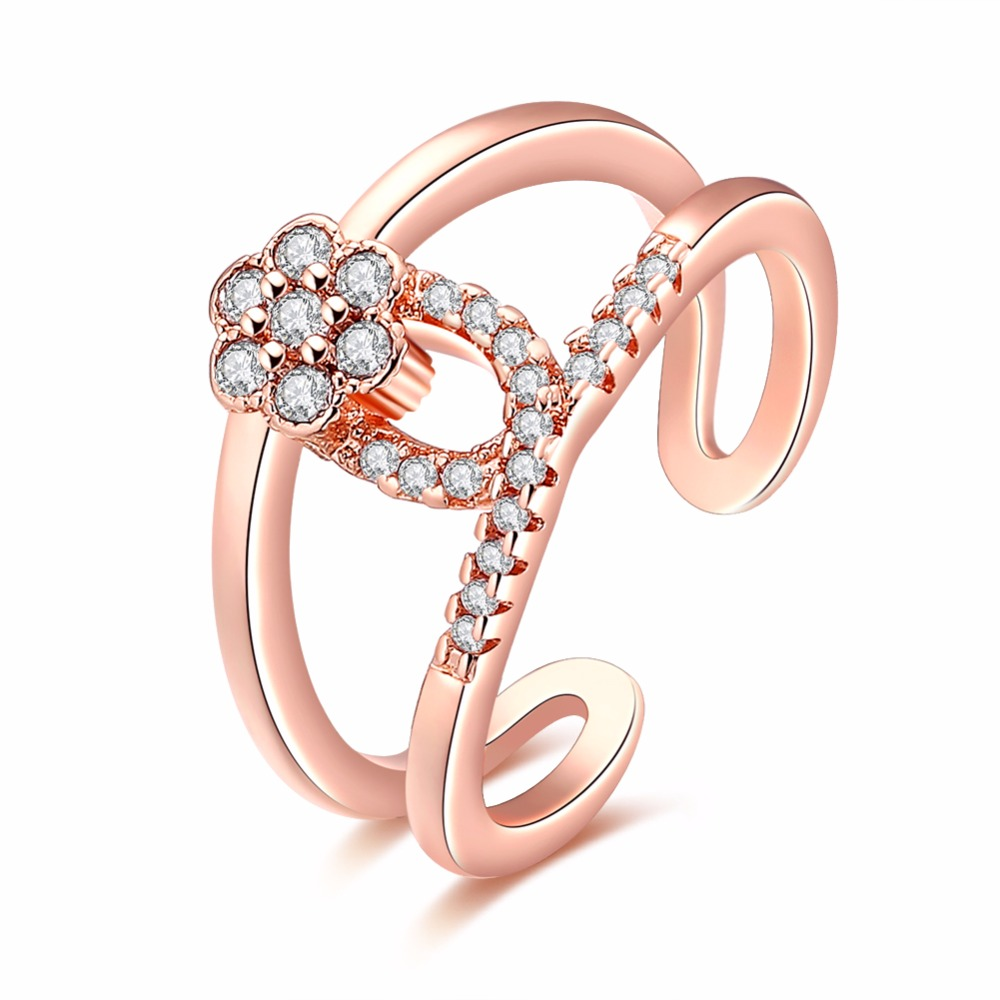 Free Shipping New Hot Deal Green Rose Gold Hand Holding Flower Zirconia Warm Elite Ms. Ring Anniversary