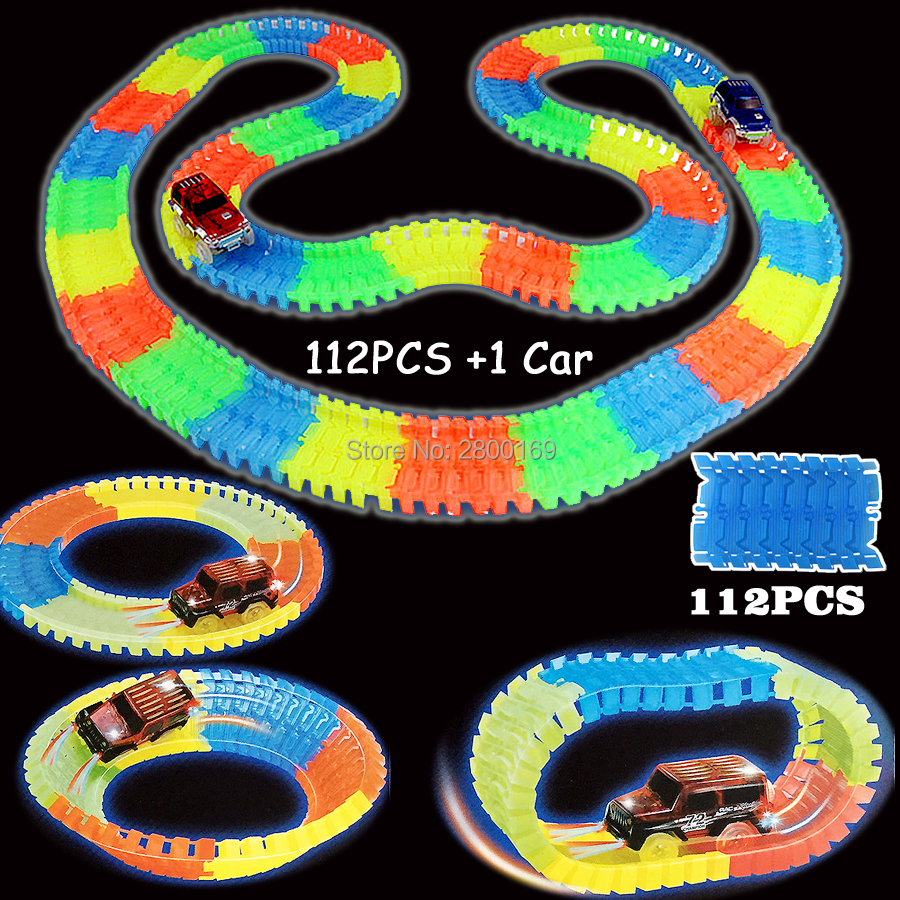 Glow-race-track-Bend-Flex-Glow-in-the-Dark-Assembly-Toy-112160256300PCS-Slot-Race-Track-1PC-LED-Car-Puzzle-Educational-Toys-3