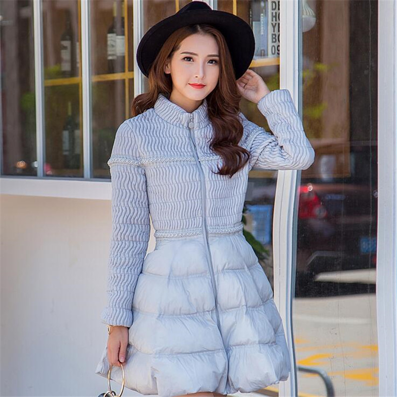 2017 New Women Parka Slim Down Cotton Jacket Winter Brand Women Bending Black Pink Gray Long Lady Clothing Jackets Parkas A3377 england style 2017 new winter lady hooded balls jackets pink red black gray and blue lady down jackets imitation fox fur hat