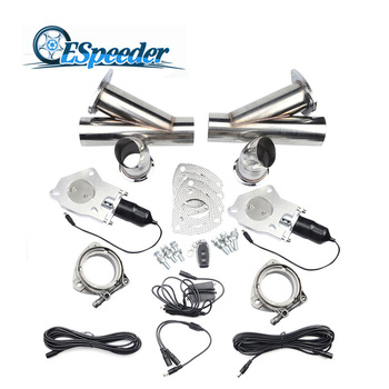 ESPEEDER 2.0 Inch Exhaust Cutout Cut Out Stainless Steel Y Headers Catback Pair Electric Exhaust Cutout Pipe With Remote Control фото