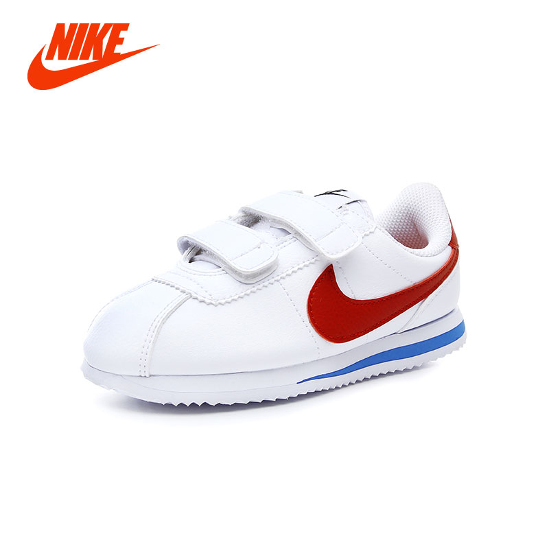 NIKE Original CLASSIC CORTEZ Kids Unisex Boy Girls Running Shoes Breathable Stability Street All Season White Casual Sneakers original nike classic cortez nylon men s skateboarding shoes 532487 sneakers free shipping