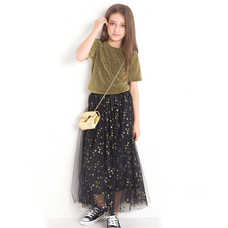 Teenage Girls Clothing Summer Girls Sets Blingbing Tops Star Skirts 2 pieces Sets Kids Clothes Fashion Girls Clothes 10 12 year 2018 teenage girls clothing sets summer casual children clothing kids clothes toddler girls suits t shirts tops plaid skirts