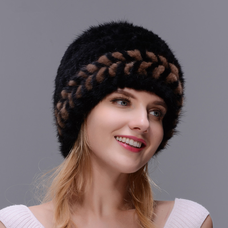 2017 New Style Winter Warm Fur Hat for Women Real Natural Mink Fur Cap Ear Warm