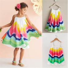 2019 Toddler Colorful Rainbow Dress Girls Kid Baby Girl Summ