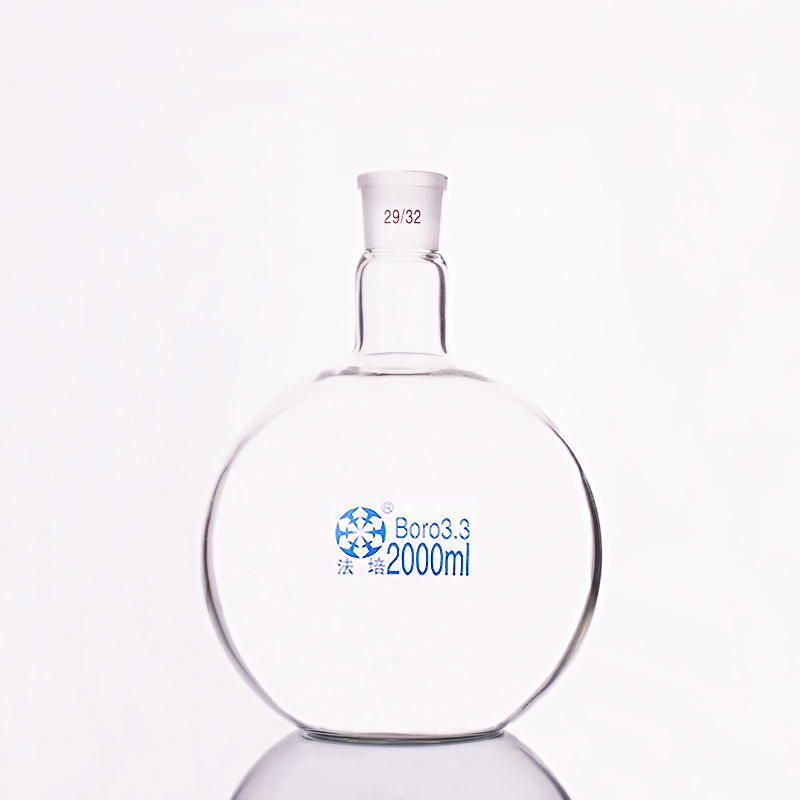 Single Standard Mouth Flat-bottomed Flask,Capacity 2000ml And Joint 29/32,Single Neck Flat Flask,Boiling Flask