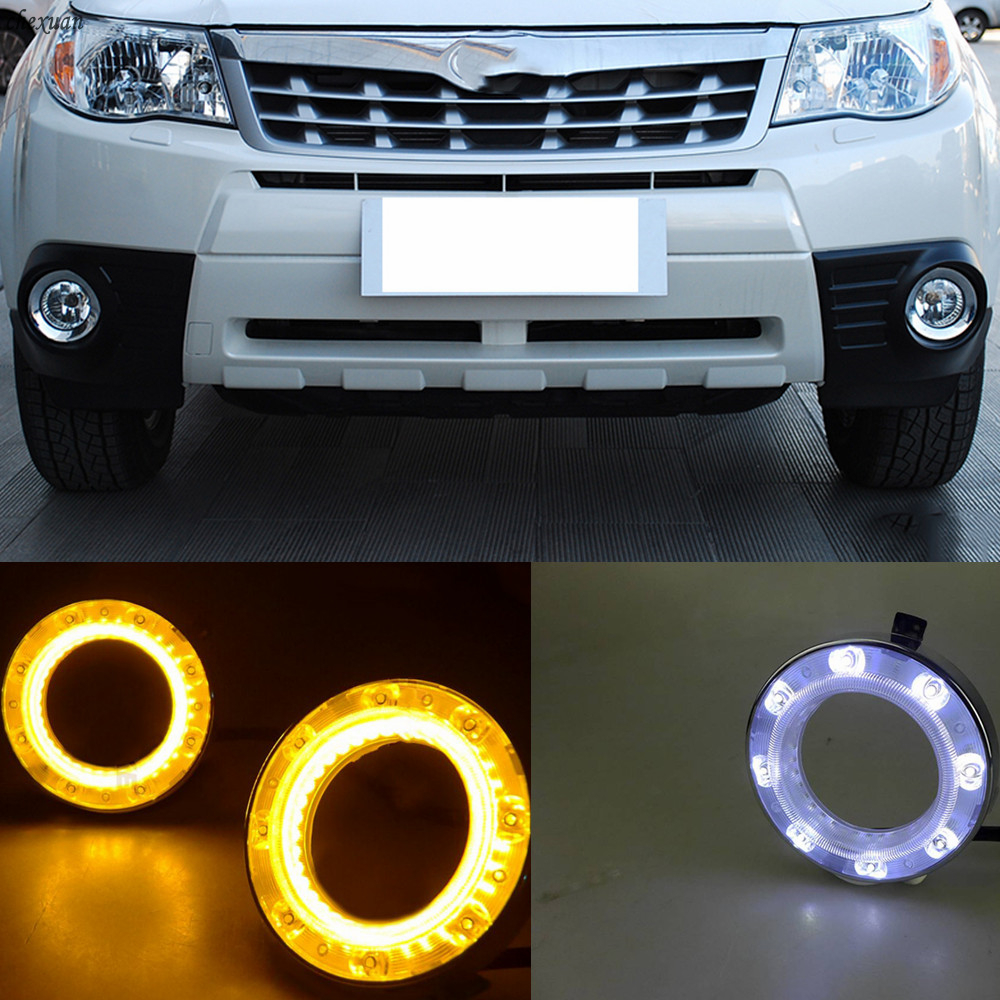 CSCSNL 2pcs For Subaru Forester 2009 2011 2012 LED DRL Daytime Running Lights With Turnning Yellow