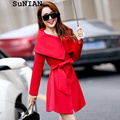 2015 New Spring Autumn Women Trenchcoat Hot Sale Medium-long Coat Casual Streetwear  With Sashes For Women Slim Belt Trench
