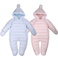 Baby Down Cotton Rompers Double Zipper Infant Winter Overalls Thick Warm Jumpsuit Baby Clothes Newborn Outwear