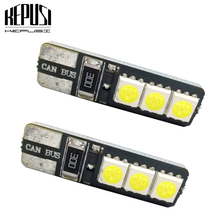 цена на 2pcs T10 LED 194 168 W5W Bright Double No Error Canbus 6 SMD 5050 LED Car Interior Bulbs Light Parking Width Lamps Warm White