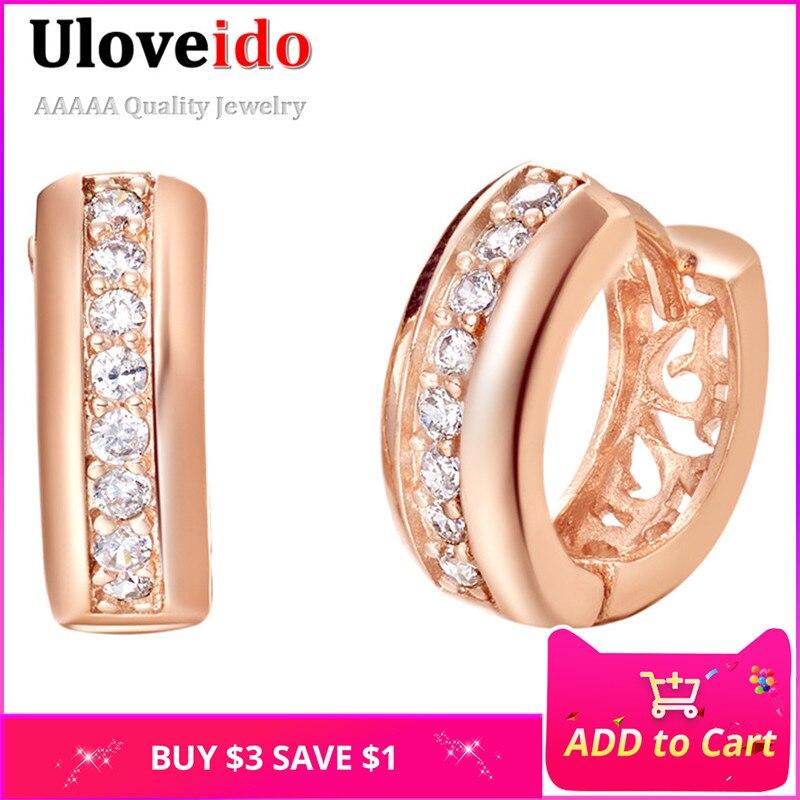 Uloveido Rózsa aranyszínű fülbevaló nőknek Vintage Brincos Bijoux Femme fülbevalók Pendientes Ékszer Crystal Stud fülbevaló R332