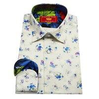 custom tailor made Men's bespoke shirts business formal wedding ware bespoke blouse white silk print small floral silk dress