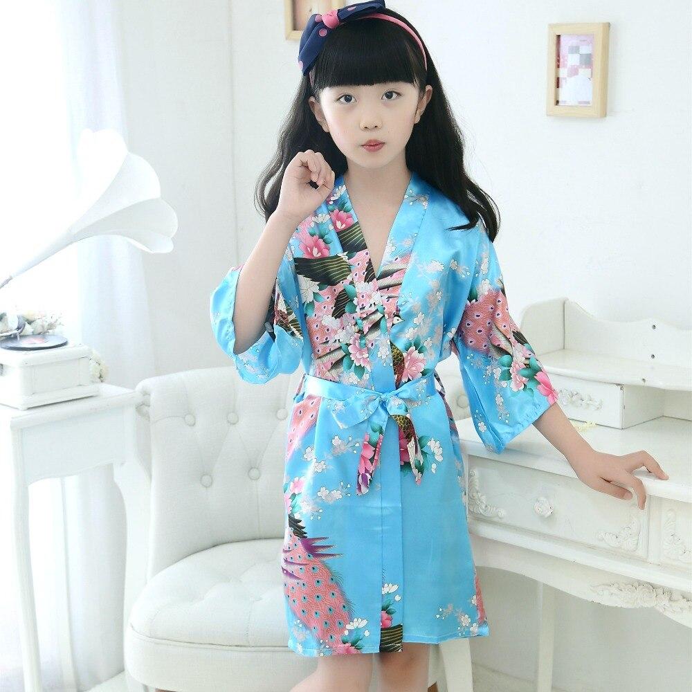 Kids Robe Satin Children summer Kimono Bath Robes Bridesmaid Flower ...