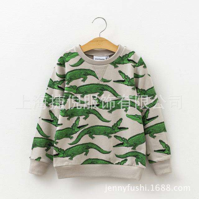 Moda meninos meninas Hoodies Crianças Manga Comprida Camisa Crocodilo Cheio de Impressão do Algodão Crianças Camisolas Outono Inverno roupas Combinando