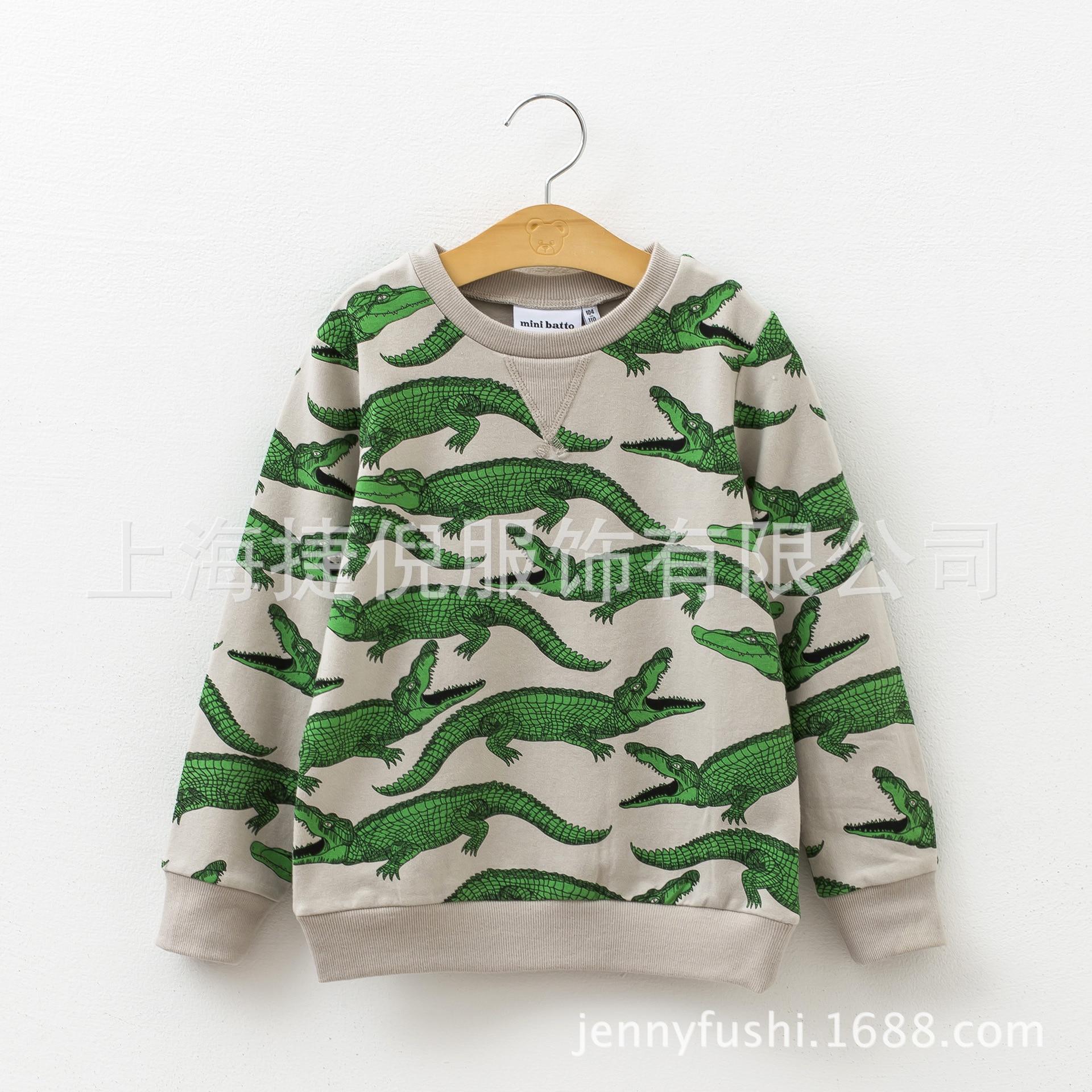 móda chlapecké dívky Hoodies Dětské tričko s dlouhým rukávem Plné krokodýly Tisk Bavlněné dětské svetry Podzimní zimní oblečení odpovídající