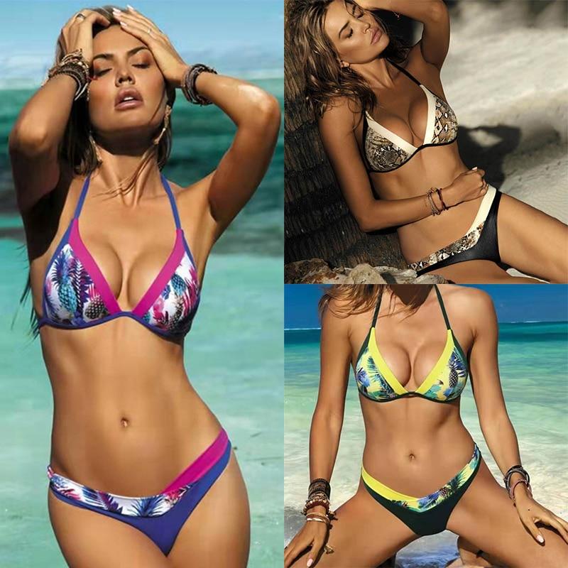 Sexy Bikini 2019 Womens Swimsuit bikinis Set Splicing printing Backless Swimwear Women Biquinis Beachwear