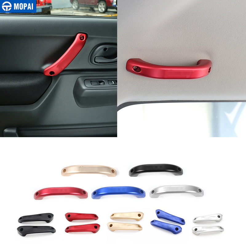 MOPAI Aluminum Alloy Car Armrest Interior Top Roof Handle & Door Grab Handle Cover for Suzuki Jimny Car Accessories Styling interior door handle armrest cover abs chrome decoration for suzuki sx4 s cross 2013 2014 car styling sticker accessories 4pcs