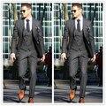 2017 Custom Made Casamento Cavalheiro do Carvão Vegetal Italiano Prom Homens Ternos Manhã Smoking Do Noivo Melhor casamento Homem Suit Jacket + Pants + colete + Gravata