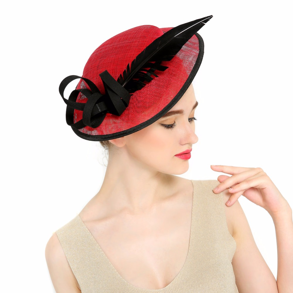 Hot Sale Women Veil Feather Fascinator Hat Cocktail Party -4539