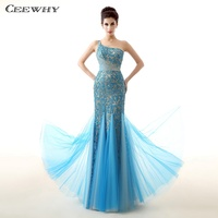 CEEWHY One Shoulder Long Lace Evening Dresses Beaded Sequin Evening Dress Robe Soiree Sexy Mermaid Dress Prom Gowns Abendkleider
