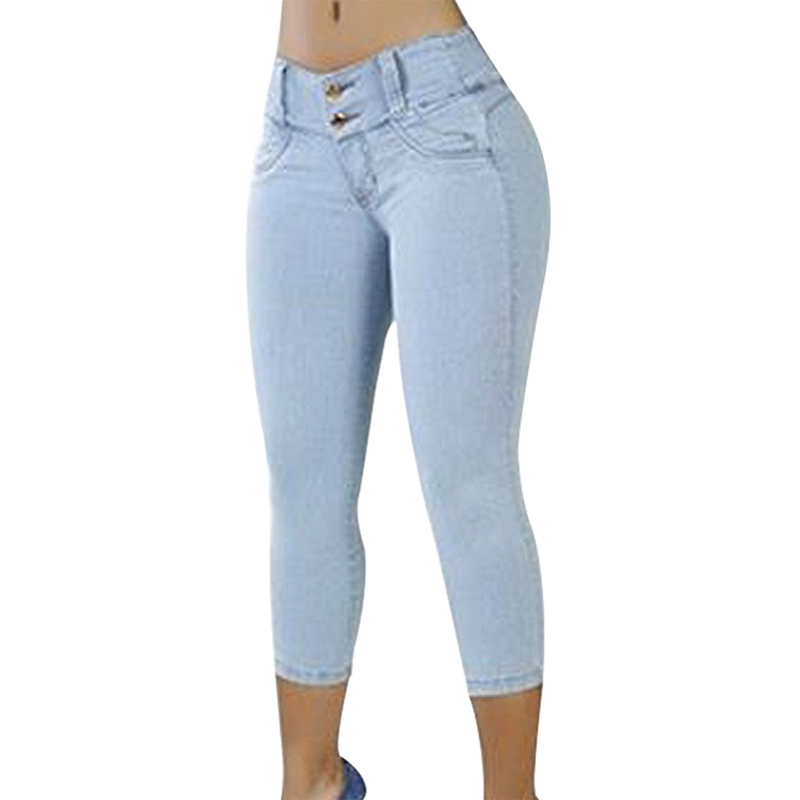 196f53d0606 Plus Size Skinny Capris Jeans Woman Female Stretch Knee Length Denim Shorts  Jeans Pants Women With High Waist Summer