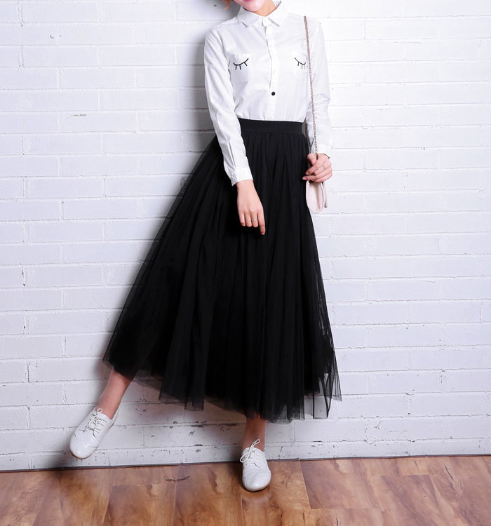OHRYIYIE 19 Autumn Winter Vintage Skirts Womens Elastic High Waist Tulle Mesh Skirt Long Pleated Tutu Skirt Female Jupe Longue 7
