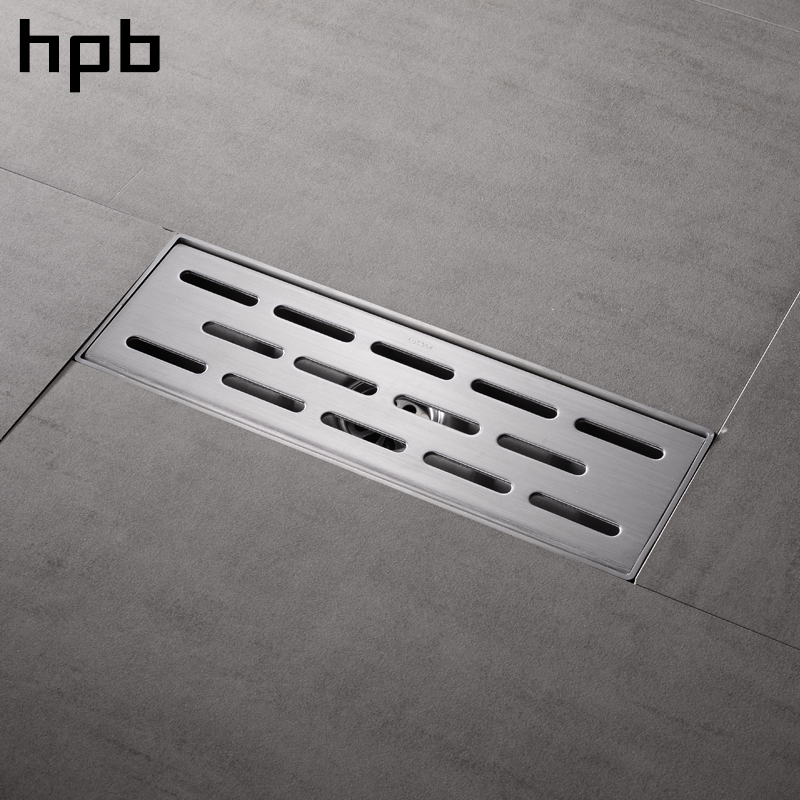 HPB 30 x 10cm Square Floor Drain Stainless Steel 304 Anti-odor Floor Drain Bathroom Invisible Shower Long Drainer HP7913 304 solid stainless steel 300 x 110mm square anti odor floor drain bathroom invisible shower drain